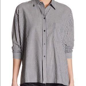 Vince Boxy Striped Split Back Shirt Size M